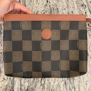 Authentic Fendi checkered board  leather clutch